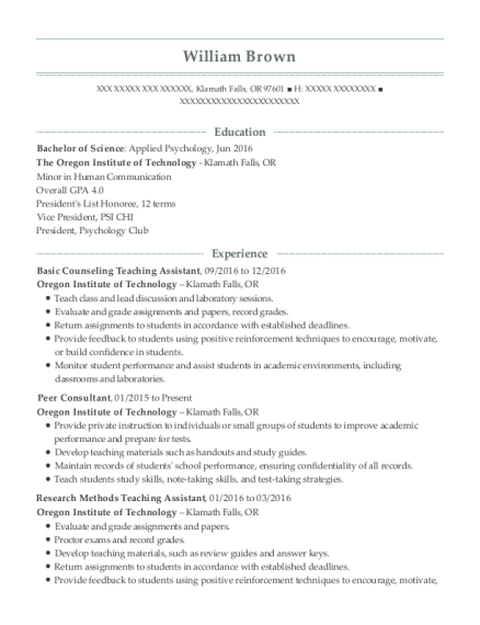 Basic Counseling Teaching Assistant resume example Oregon