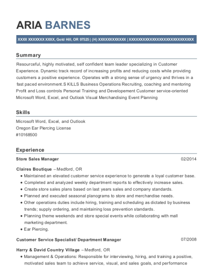 Store Sales Manager resume example Oregon