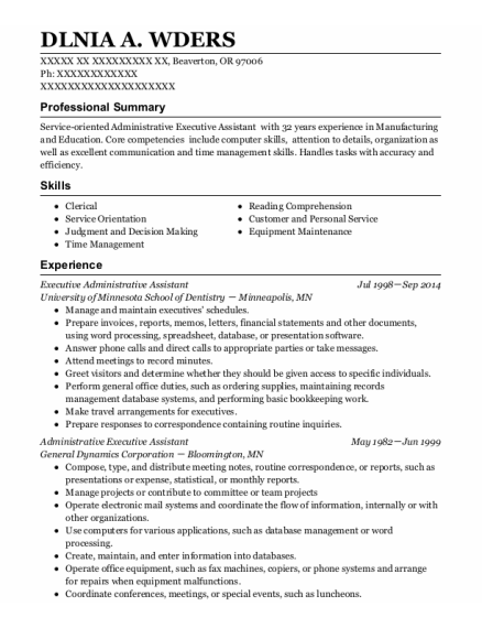 Executive Administrative Assistant resume example Oregon