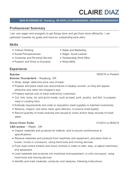 Butcher resume sample Oregon