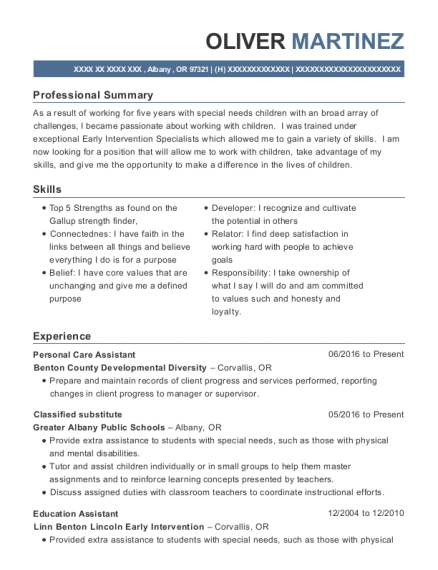 Personal Care Assistant resume example Oregon
