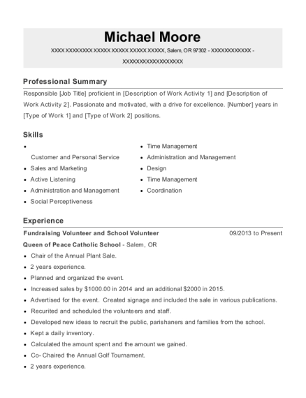Fundraising Volunteer and School Volunteer resume format Oregon
