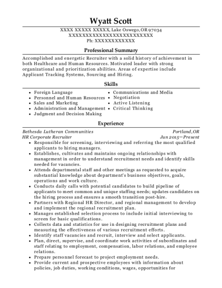 maxim healthcare services healthcare recruiter resume