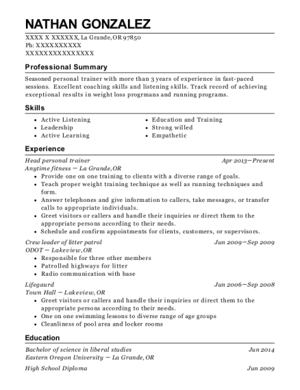 Head personal trainer resume format Oregon
