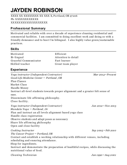 Yoga instructor resume sample Oregon