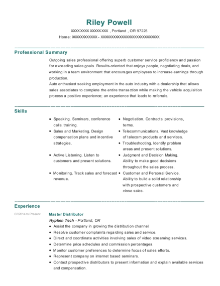 Master Distributor resume template Oregon
