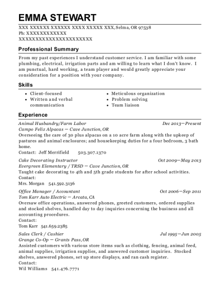 Animal Husbandry resume example Oregon