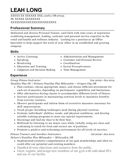 Group Fitness Instructor resume example Oregon