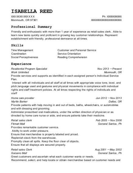 Residential Program Specialist resume template Oregon