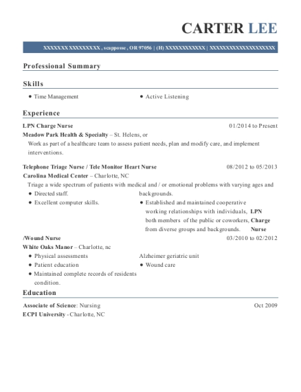 LPN Charge Nurse resume template Oregon