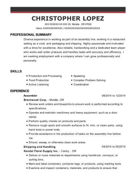 Assembler resume sample Oregon