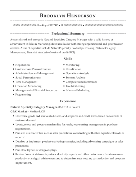 rite aid corporation category manager resume sample