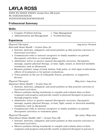 Physical Therapist resume sample Oregon