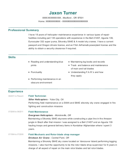 Field Technician resume template Oregon