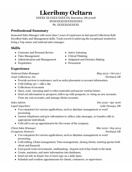 National Sales Manager resume example Oregon