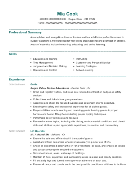 Guide resume example Oregon