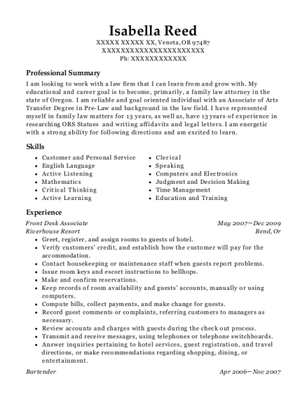 Front Desk Associate resume example Oregon