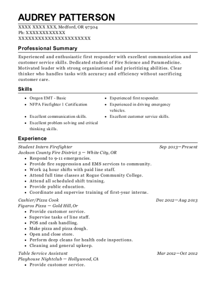Student Intern Firefighter resume example Oregon