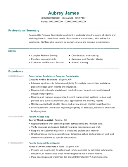 Prescription Assistance Program Coordinator resume template Oregon