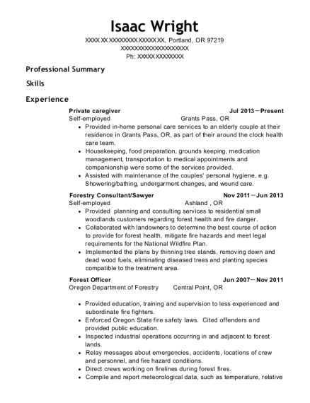 Private caregiver resume template Oregon