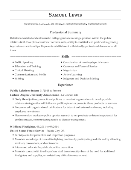 Public Relations Intern resume template Oregon