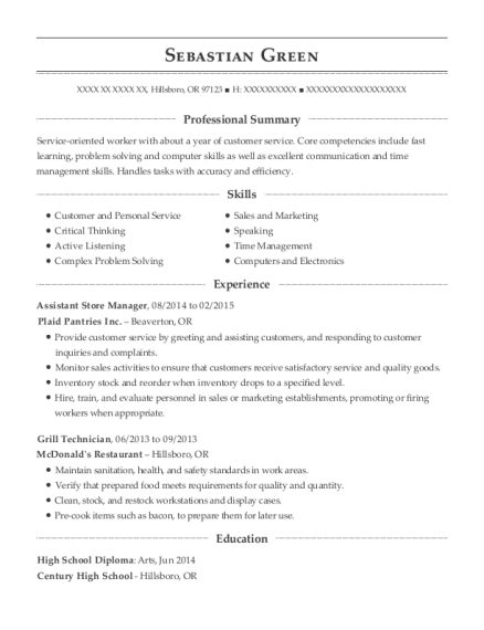 Assistant Store Manager resume template Oregon