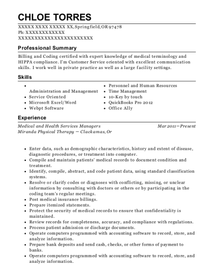 Medical and Health Services Managers resume template Oregon