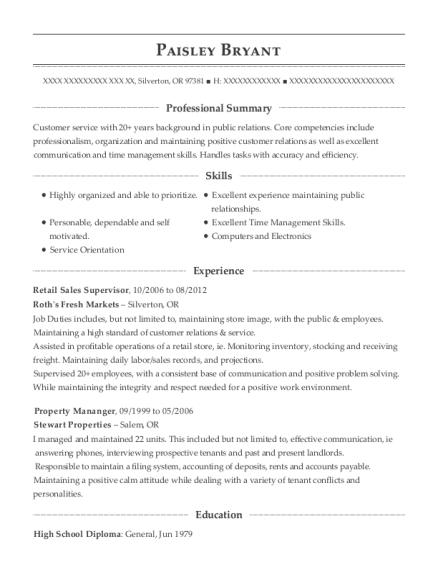 Retail Sales Supervisor resume format Oregon