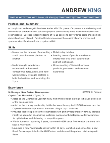 Sr Manager New Partner Development resume example Oregon