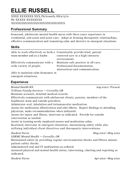 Mental Health RN resume template Oregon