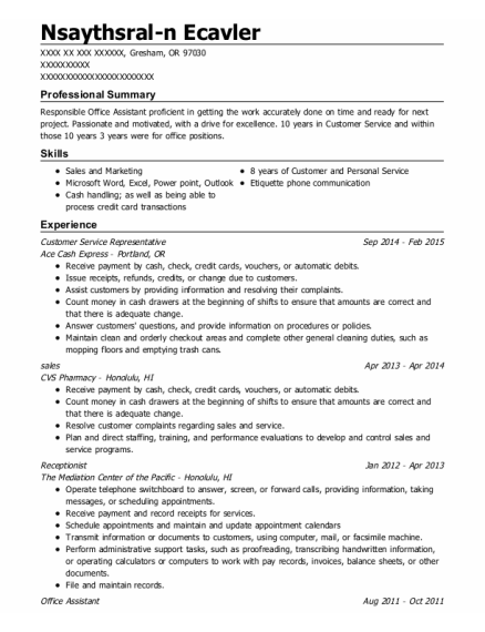 Customer Service Representative resume format Oregon
