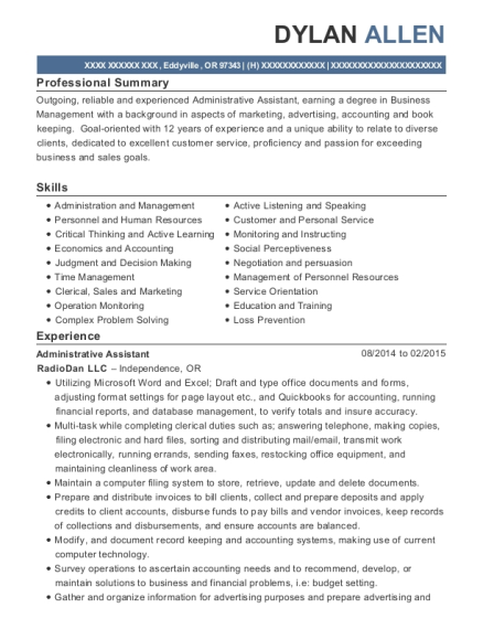 Administrative Assistant resume example Oregon