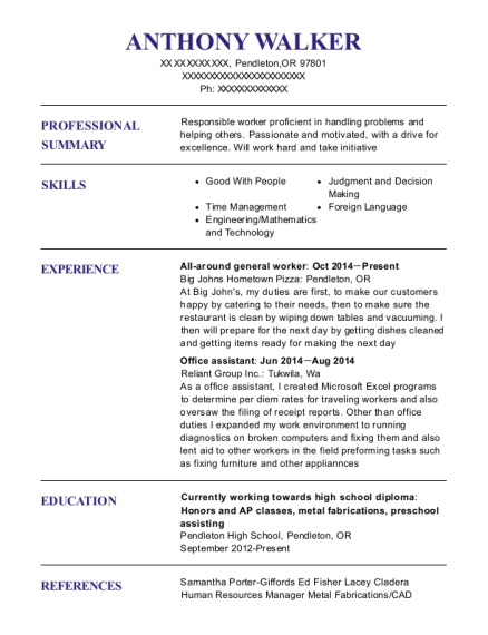 All around general worker resume example Oregon