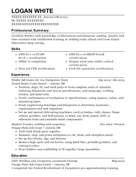 Welder fabricator for Ace Navigation Team resume sample Oregon