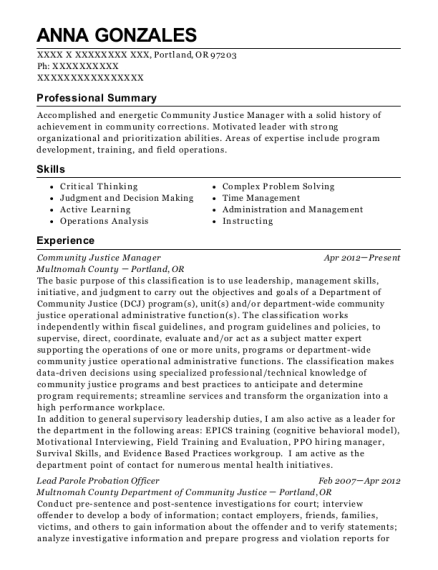 Community Justice Manager resume example Oregon