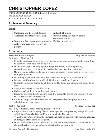 Assistant Store Manager resume example Oregon
