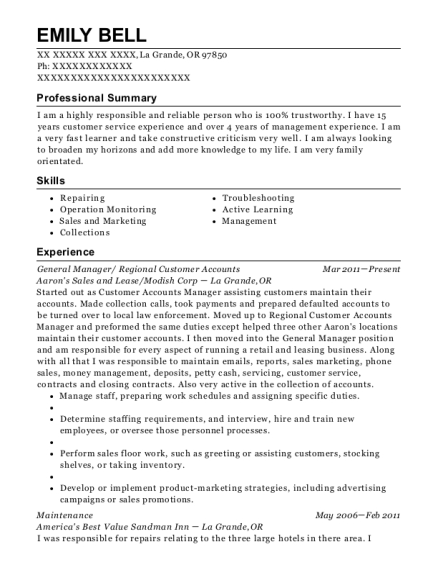 General Manager resume format Oregon