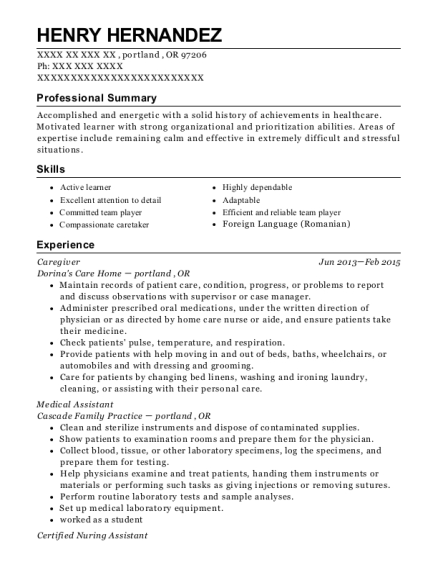 Caregiver resume sample Oregon