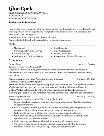 House Cleaner resume template Oregon