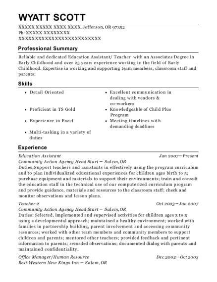 Education Assistant resume example Oregon