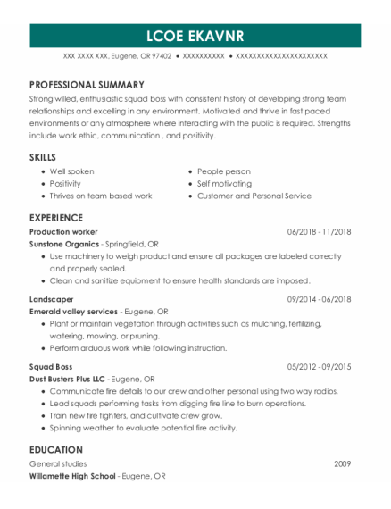 Production Worker resume sample Oregon