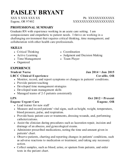 Student Nurse resume example Oregon