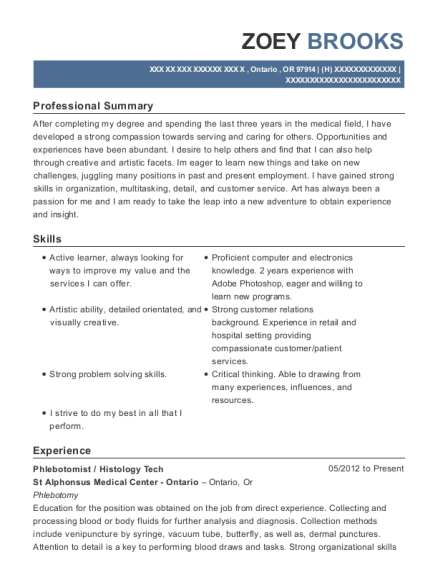 Phlebotomist resume example Oregon