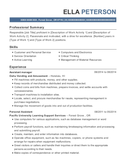 Assistant Manager resume sample Oregon