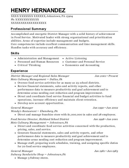 District Manager and Regional Sales Manager resume sample Pennsylvania