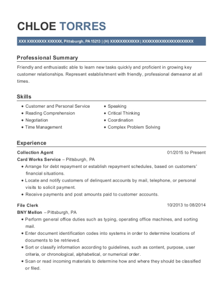 Collection Agent resume template Pennsylvania