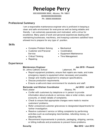 Maintenance Engineer resume sample Pennsylvania