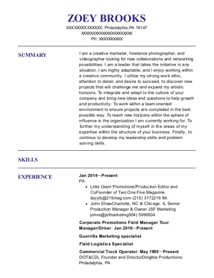 Corporate Promotions Field Manager Tour Manager resume sample Pennsylvania