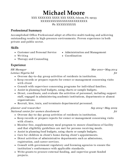 HR Manager resume example Pennsylvania