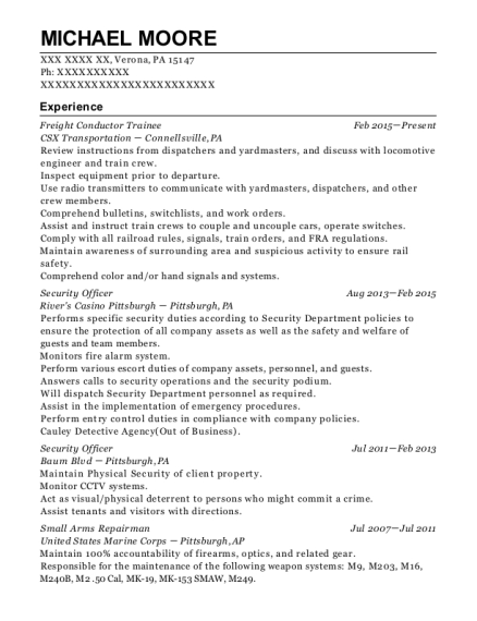 Freight Conductor Trainee resume template Pennsylvania